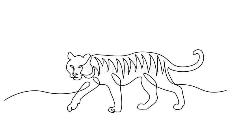 Um a l?pis desenho cont?nuo Símbolo de passeio do tigre ilustração stock