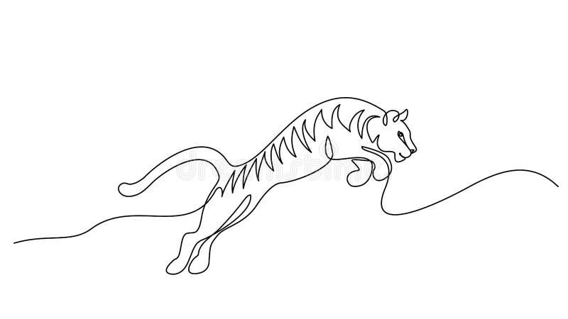 Um a l?pis desenho cont?nuo Símbolo de salto do tigre ilustração do vetor