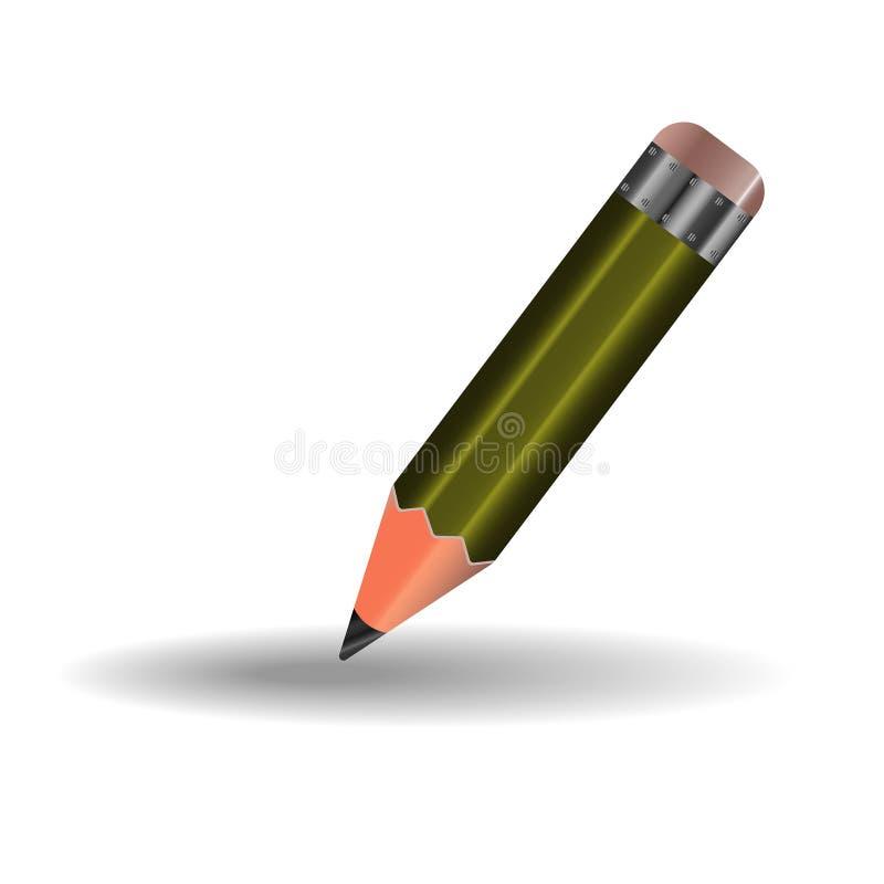 Um l?pis simples com eliminador, verde ilustração do vetor