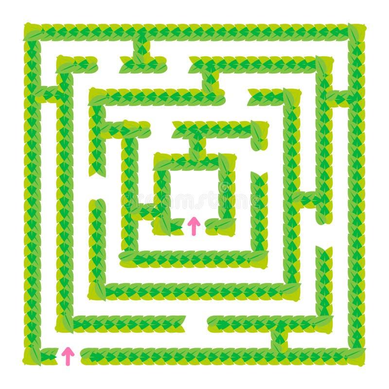 Um labirinto verde simples das folhas Jogo para miúdos Enigma para crianças Uma entrada, uma saída Enigma do labirinto Vetor liso ilustração do vetor