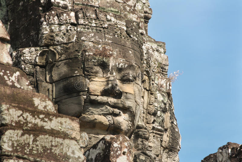 Um lado do templo com caras, Angkor Wat de Bayan, Camboja fotos de stock royalty free