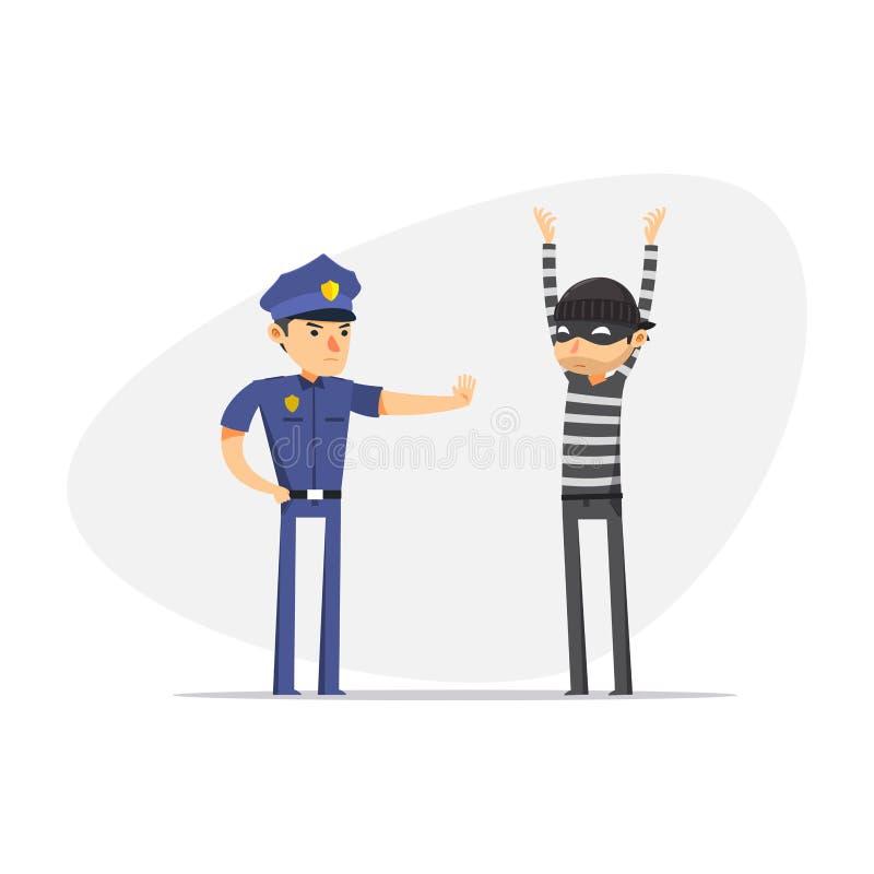 Um ladrão está sendo parado pela polícia Ilustração de vetor isolada ilustração stock