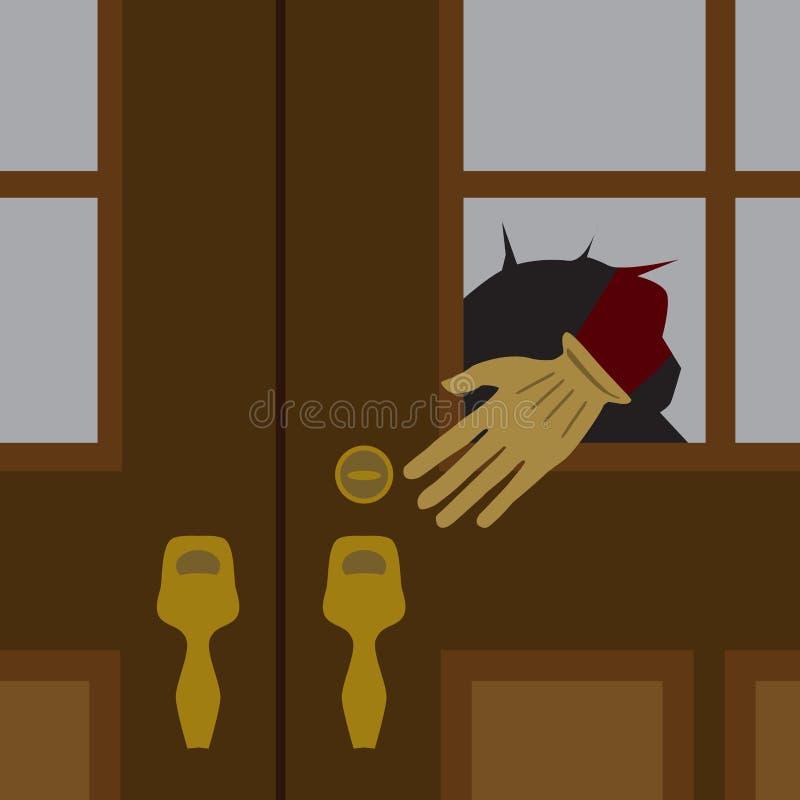 Um ladrão na noite ilustração do vetor