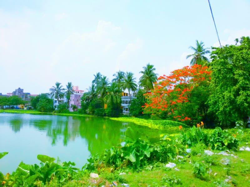 Um lago bonito em uma vila imagens de stock