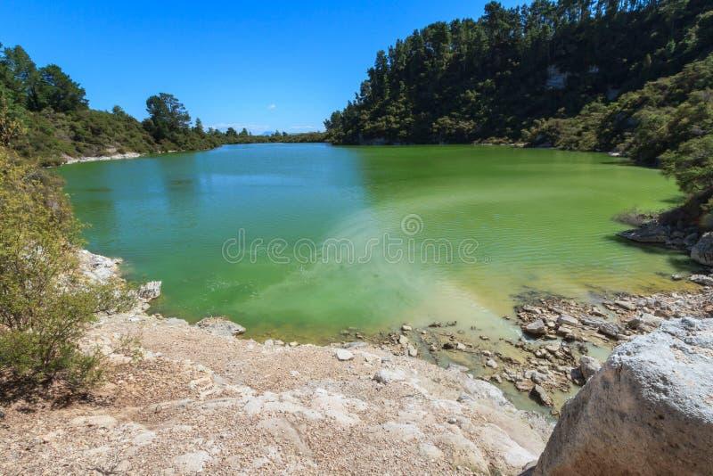 Um lago em uma zona geotérmica, sendo colorido verde-amarelo pelo enxofre foto de stock