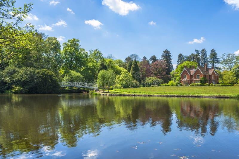 Um lago em Virginia Water Park em Surrey, Reino Unido foto de stock royalty free