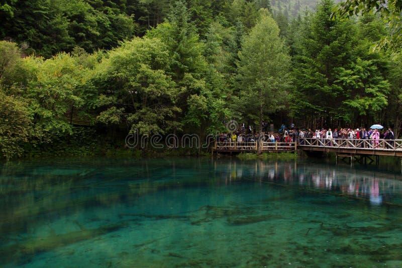 Um lago no Vale Jiuzhaigou, China fotografia de stock