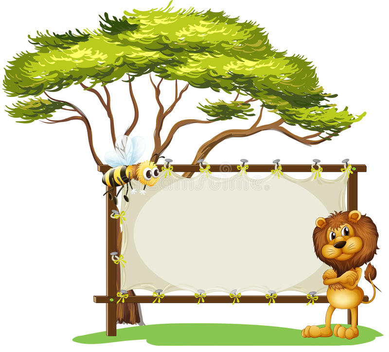 Um leão assustador e uma abelha ilustração royalty free