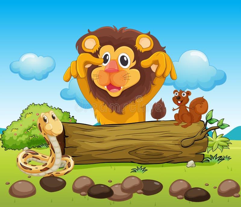 Um leão assustador, uma serpente e um esquilo pequeno ilustração royalty free