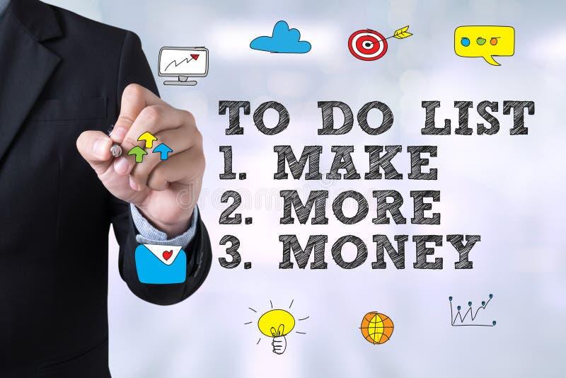 UM LISTE ZU TUN - verdienen Sie mehr Geld lizenzfreie stockfotos