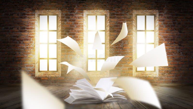 Um livro aberto com uma fantasia mágica Ilustração da opinião da noite com um livro ilustração stock