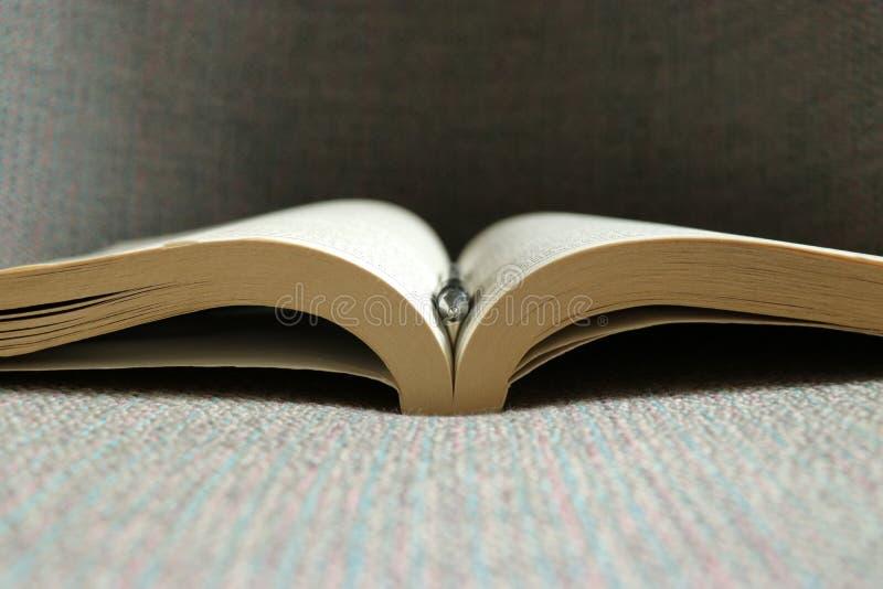 Um livro aberto e uma pena imagens de stock royalty free