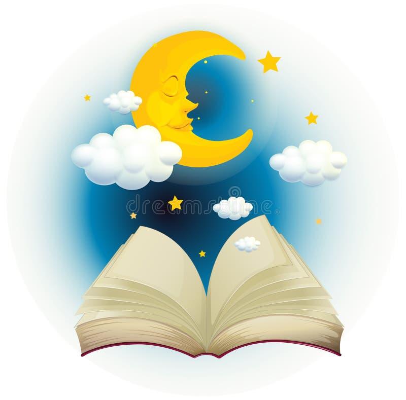 Um livro aberto vazio com uma lua do sono ilustração do vetor