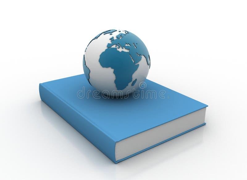 Um livro azul e um globo ilustração royalty free
