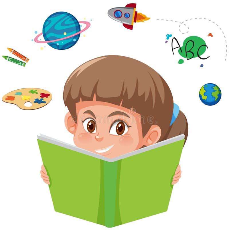 Um livro de leitura da menina ilustração stock