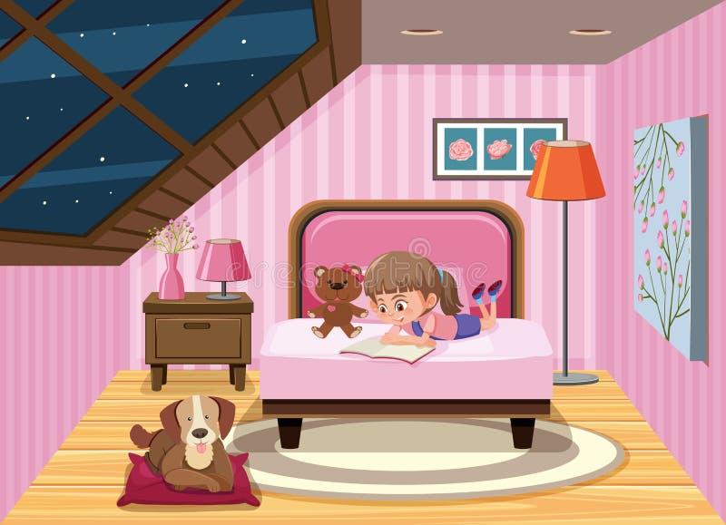 Um livro de leitura da menina na cama ilustração royalty free