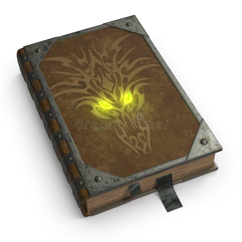 Um livro mágico antigo no emperramento de couro e com guarnição do ferro O livro da mágica e do Satã ilustração stock