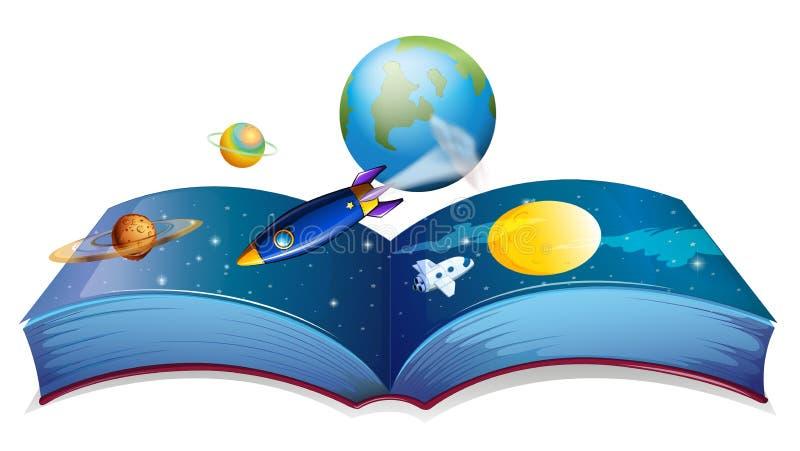 Um livro que mostra a terra e outros planetas ilustração stock