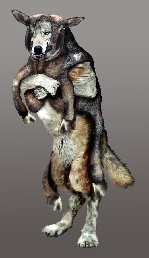 Um lobo na roupa do carneiro ilustração stock