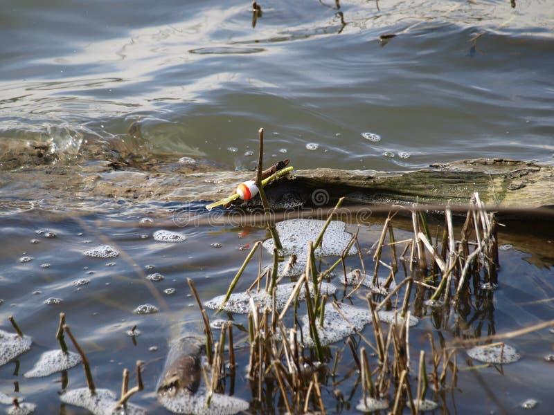 Um log de flutuação de pesca perdido de Bob Turns Up On A fotografia de stock