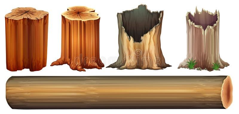Um log e cotoes de árvore ilustração do vetor