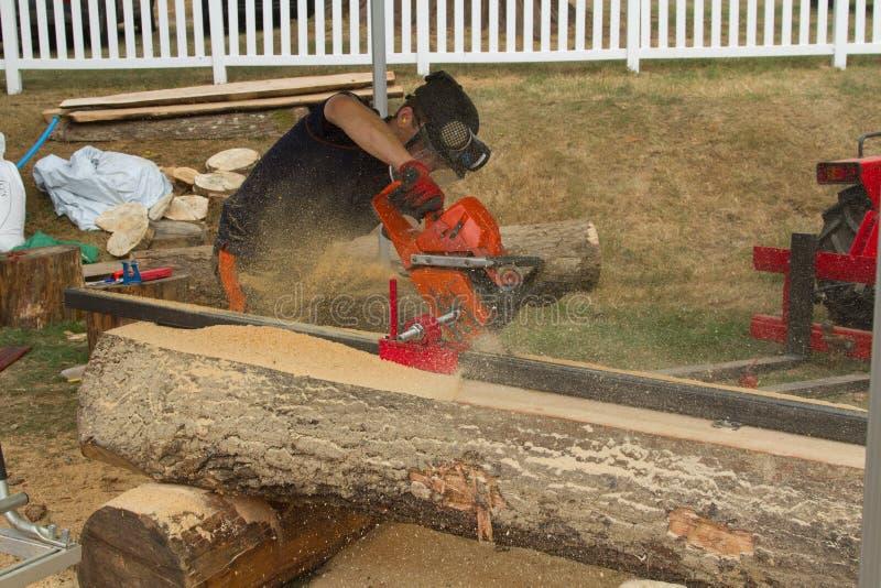 Um log que está sendo planked usando uma serra de cadeia imagem de stock