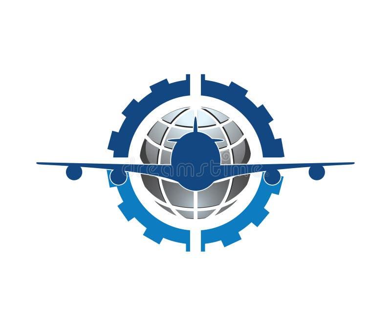 Um logotipo 3d para a manutenção do avião principalmente na cor azul ilustração royalty free