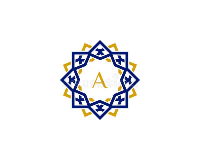 Um logotipo da letra inicial com ornamento luxuoso ilustração royalty free