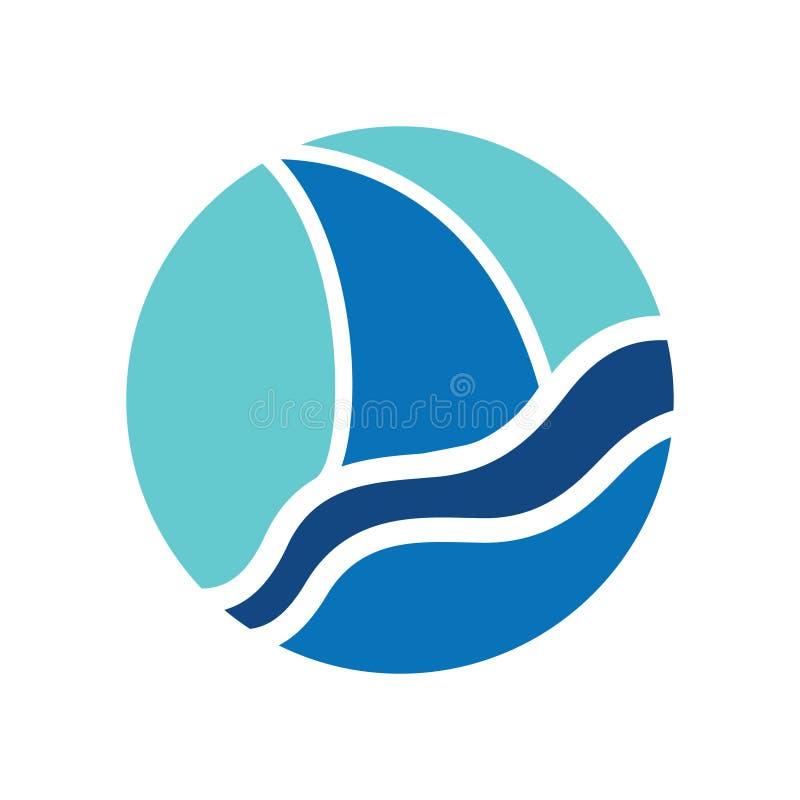 Um logotipo de uma aleta do tubarão azul aparece acima da água ilustração do vetor