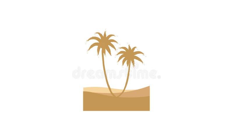 Um logotipo dos oásis na cor marrom com palmeiras e deserto ilustração do vetor
