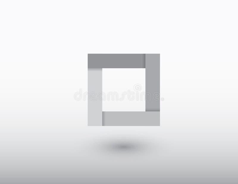 Um logotipo quadrado preto e branco do negócio com sombra em claro - vetor cinzento do fundo ilustração stock