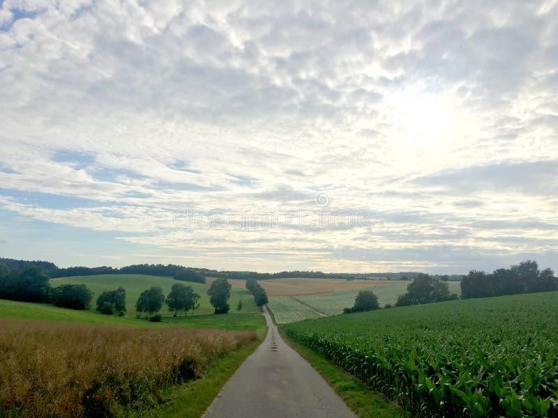 Um longo caminho em uma paisagem do campo alemão em Baden-Wurrtemberg, com transporte fotografia de stock royalty free