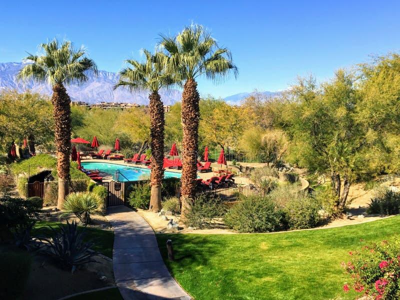 Um lugar bonito das férias com uma piscina cercada por palmeiras e por deserto em um dia ensolarado bonito em Palm Desert fotos de stock royalty free