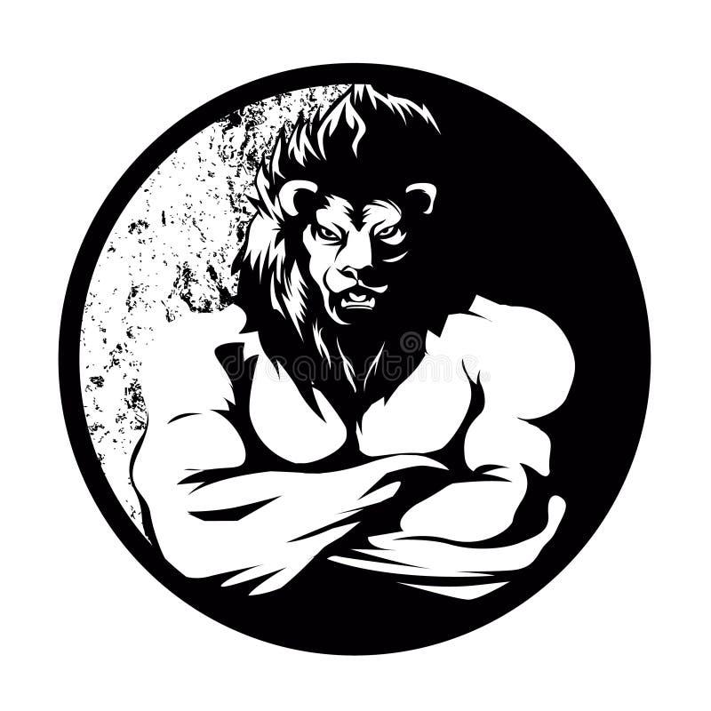 Um lutador do homem do leão preto e branco ilustração do vetor