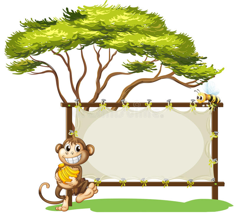 Um macaco com uma banana perto do signage vazio ilustração stock