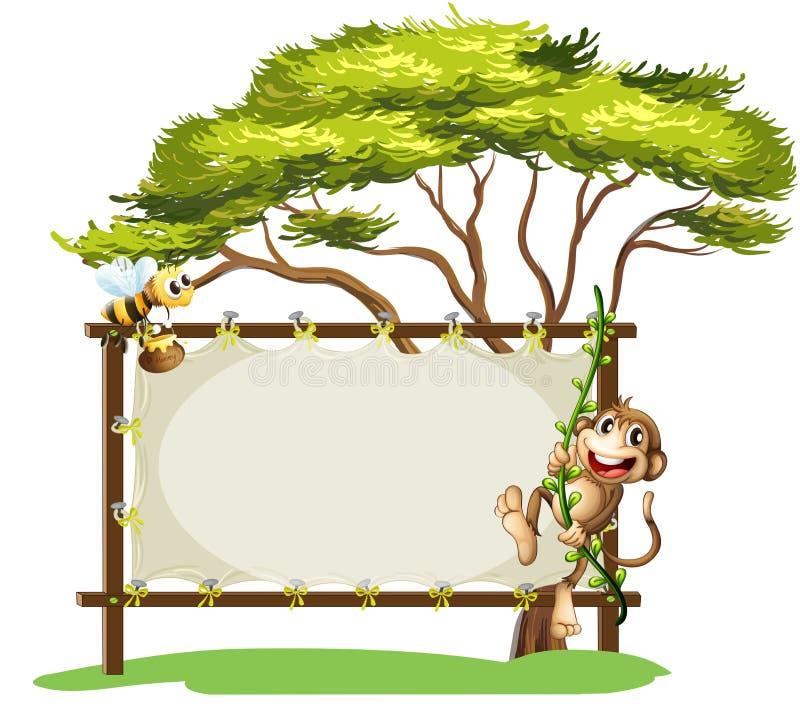 Um macaco e a abelha ao lado do signage vazio ilustração royalty free