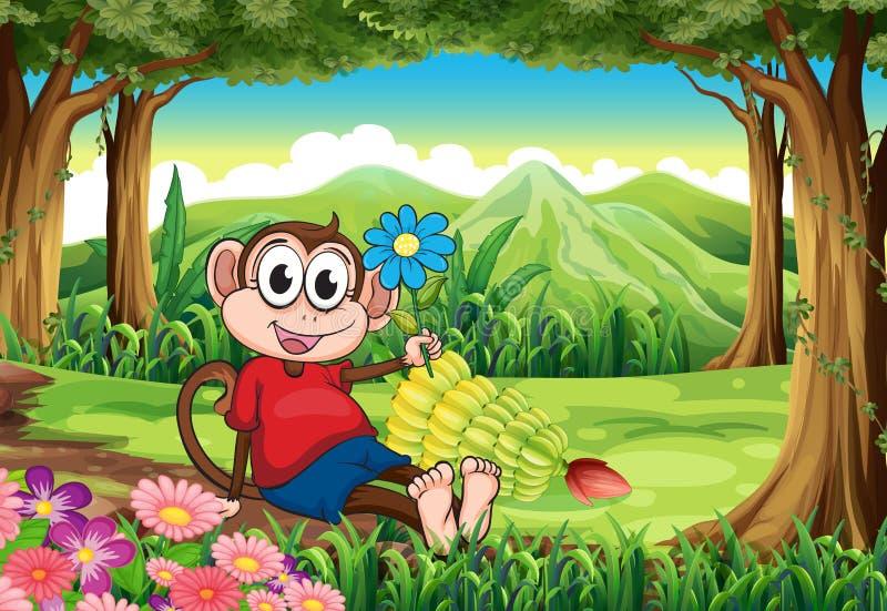 Um macaco que guarda uma flor ao sentar-se no meio do para ilustração royalty free