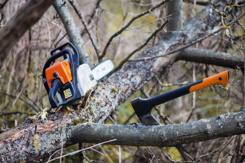 Um machado e uma serra de cadeia fotos de stock