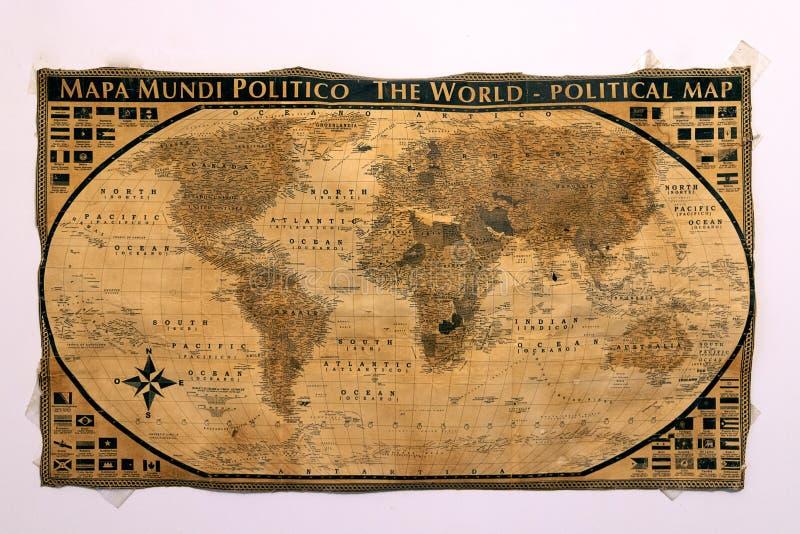 Um mapa da navegação do mundo antigo na Idade Média foi colocado foto de stock royalty free