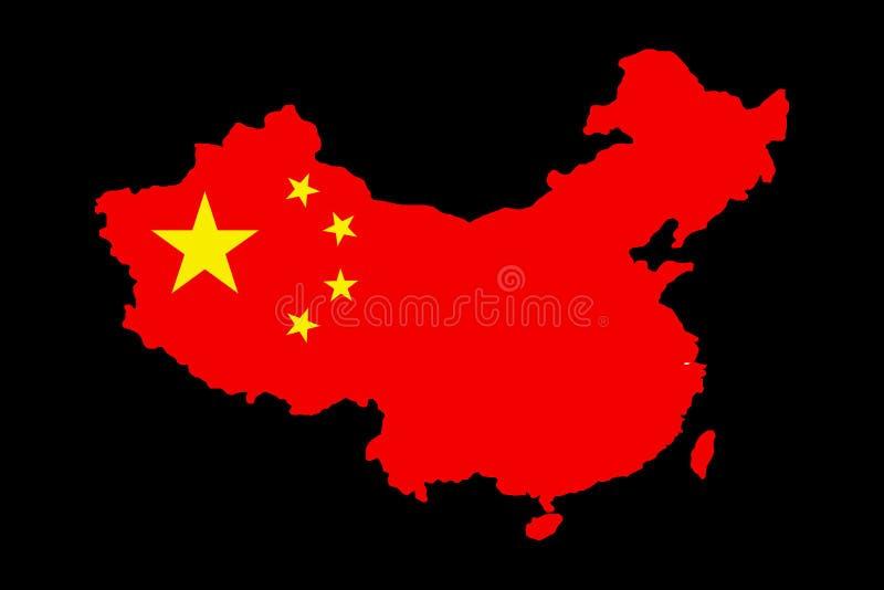 Um mapa de China com sua bandeira nela ilustração stock
