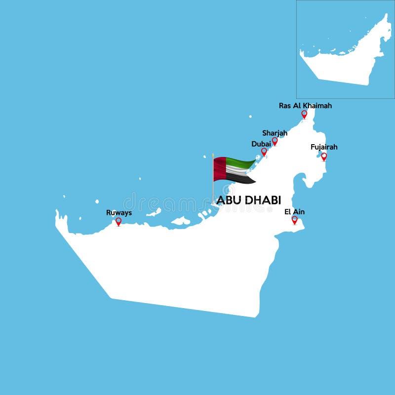 Um mapa detalhado de Emiratos Árabes Unidos ilustração stock