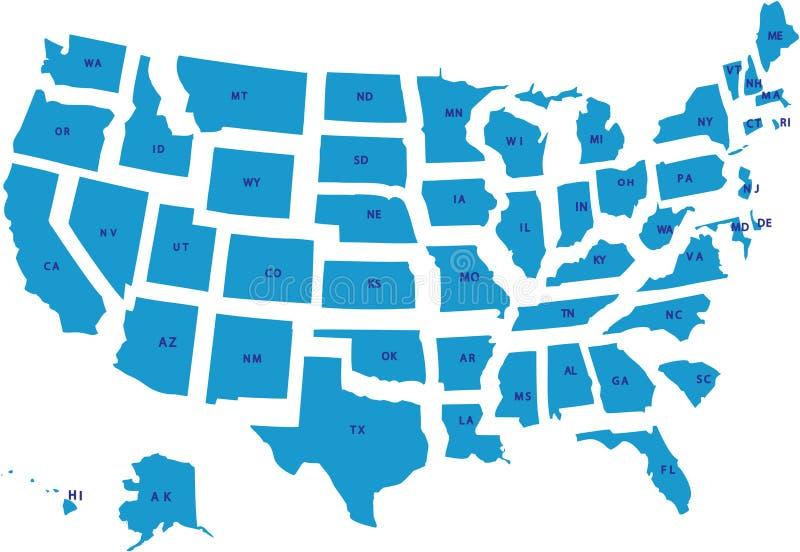 Um mapa dos EUA do vetor. ilustração stock