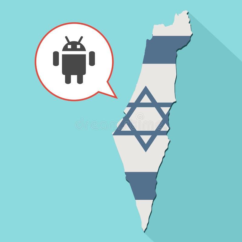 um mapa longo de Israel da sombra com sua bandeira e um cômico ilustração royalty free