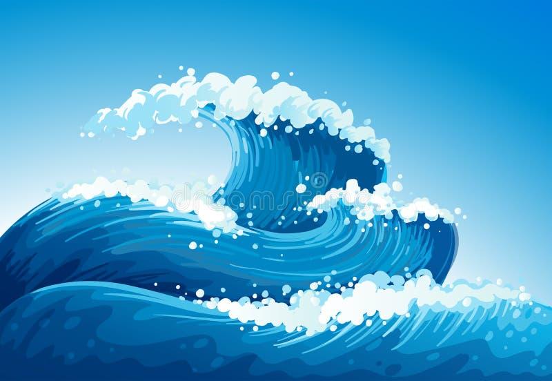 Um mar com ondas gigantes ilustração royalty free