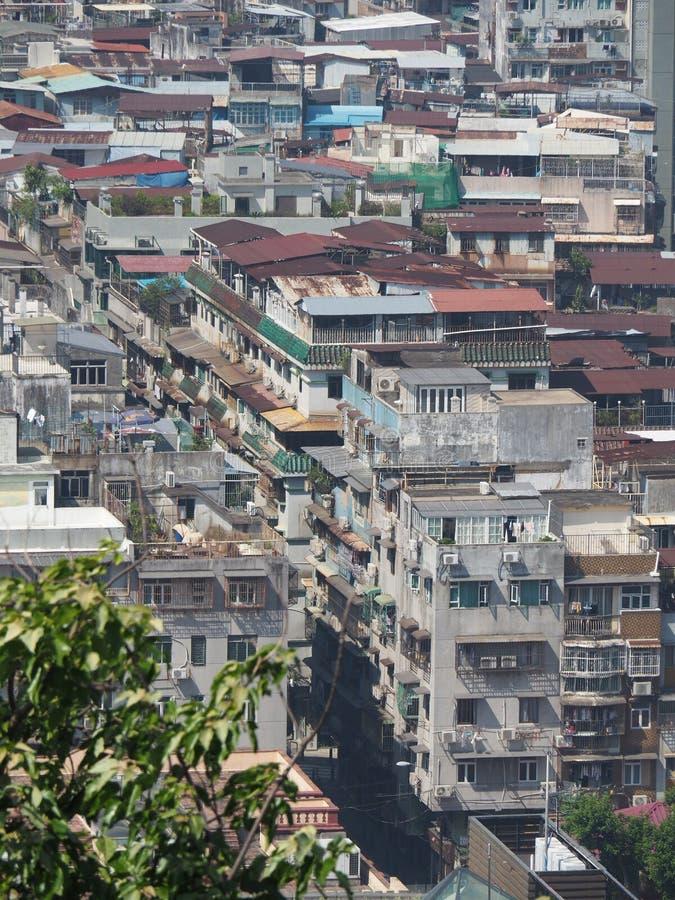 Um mar dos prédios de apartamentos ilustra uma boa imagem do Macau densamente povoado fotografia de stock