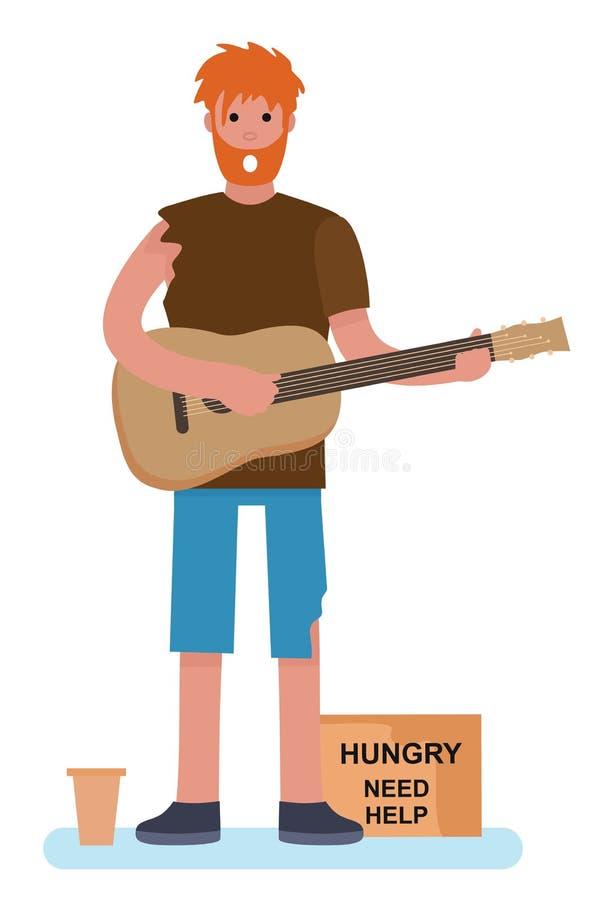 Um mendigo mendigo tocando guitarra pedindo ajuda. desabrigado. Conceito desempregado. Ilustra??o do vetor do estilo dos desenhos  ilustração royalty free