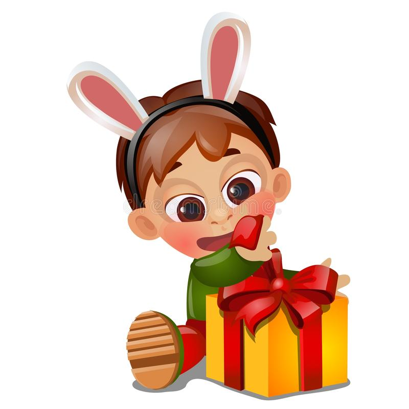 Um menino animado feliz pequeno desempacota um presente no aniversário isolado no fundo branco Close-up dos desenhos animados do  ilustração stock