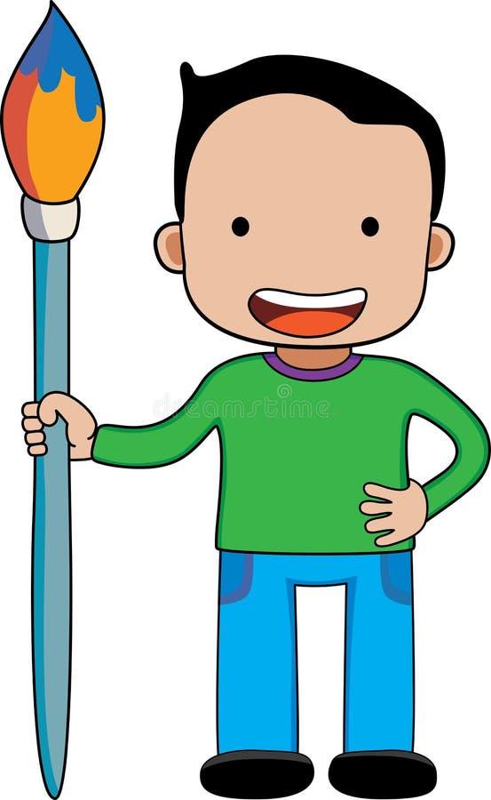 Um menino com pincel gigante fotografia de stock royalty free