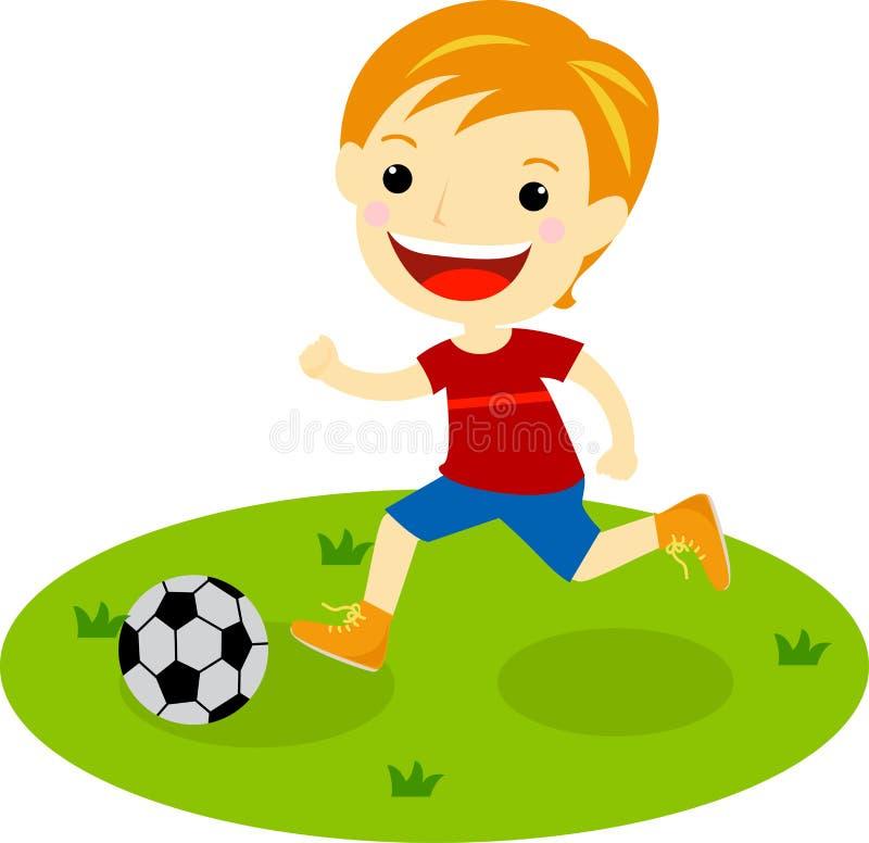 Um menino com um futebol ilustração stock