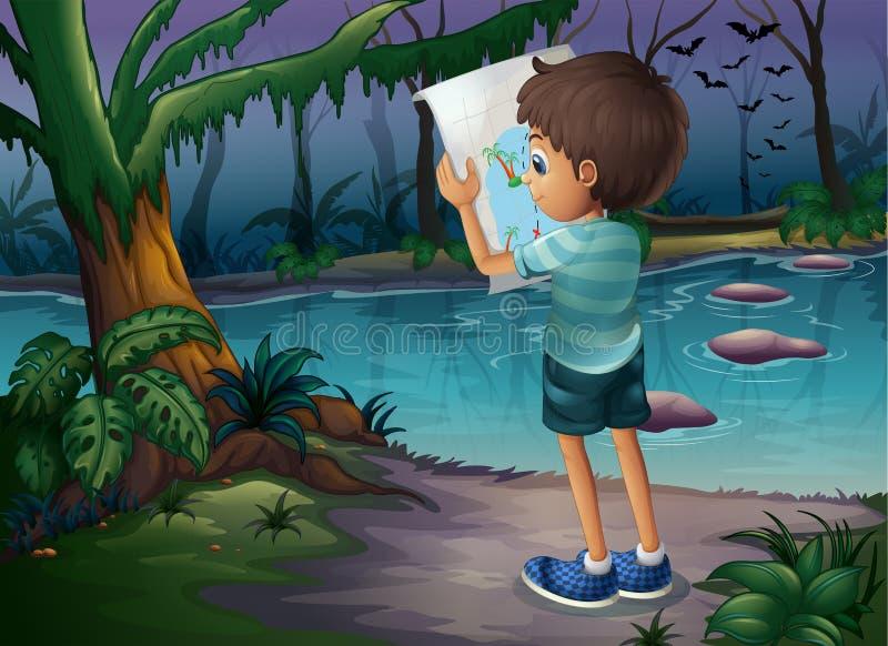 Um menino com um mapa que está no meio da floresta ilustração do vetor